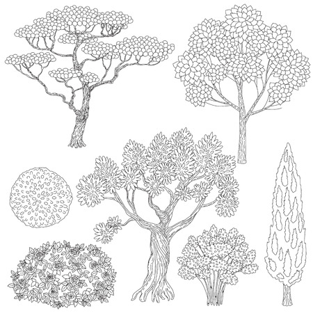 set of outlines trees and bushes.  Black and white elements for coloring. Illustration