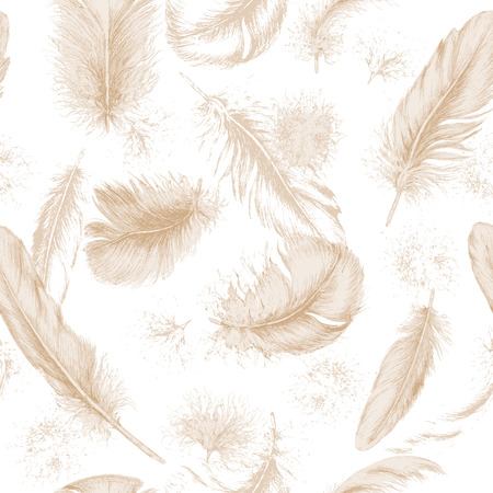 beige background: Hand drawn set of various feathers. Seamless background with flying beige feathers. Illustration