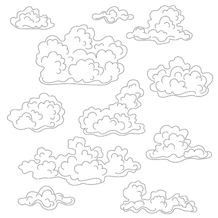 simplified: Cumulus clouds outline set. Black and white elements for coloring.