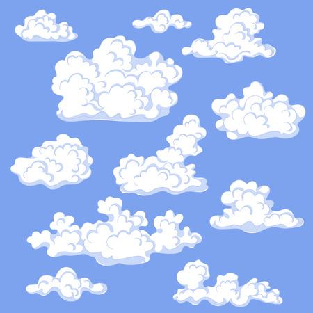 White cumulus cloud set. Blue sky with cumulus clouds. Illustration