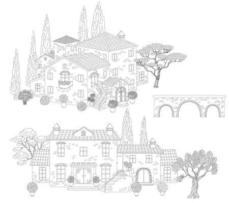 Dibujo Para Colorear Para Los Niños Con La Casa Y El Puente ...