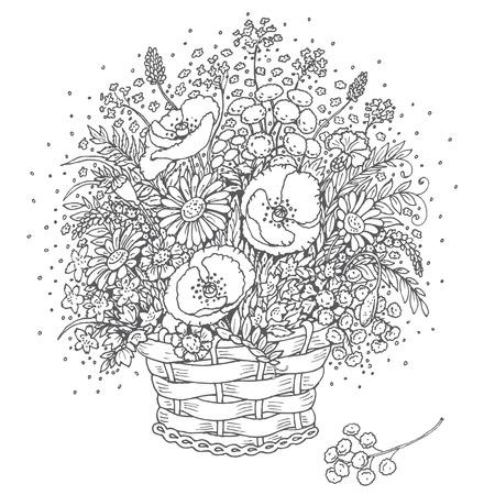 Hand Gezeichnet Mädchen Mit Blumen Und Schmetterling. Doodle Floral ...