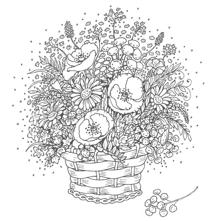 fragrant bouquet: Hand drawn bouquet of wild flowers in a basket.  Monochrome elements for coloring.