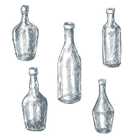 bottling: Hand drawn set of empty  glass bottles for wine.
