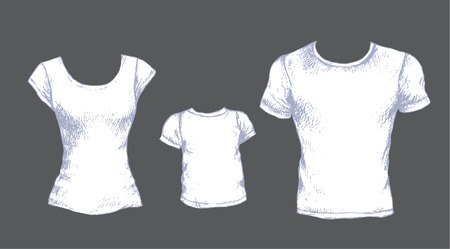 white shirt: Hand drawn set of white T-shirts for man, women and kid isolated on gray background.  Front views. Vector sketch. Illustration