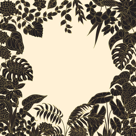 goldish: Black and golden leaves and flowers on light background. Square floral frame of tropical plants silhouette with space for text. Illustration