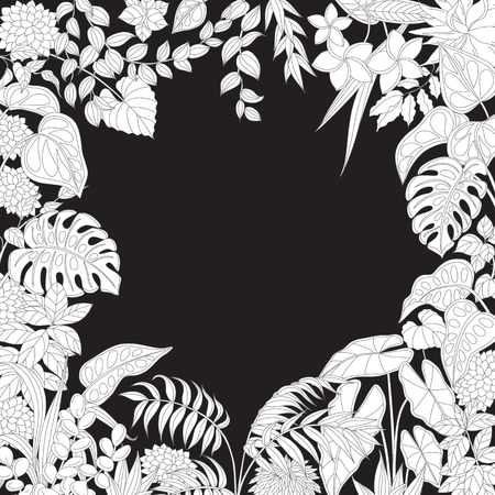 black backgrounds: Contoured leaves and flowers on black background. Square floral frame of outline tropical plants with space for text. Illustration