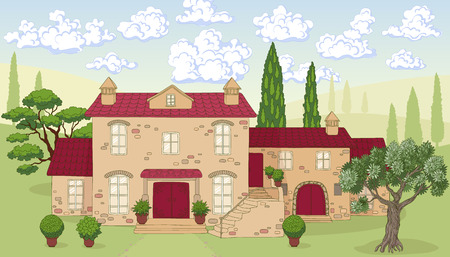 plant in pot: Summer landscape with  house,  trees and clouds.  Stone house with red tile roof. Cumulus  clouds on blue sky. Hand drawn cartoon illustration.