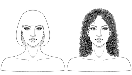 face female: Simplified  monochrome image of women with different hairstyles.  Black and white elements for coloring. Template for makeup, tattoo design  and jewelry.