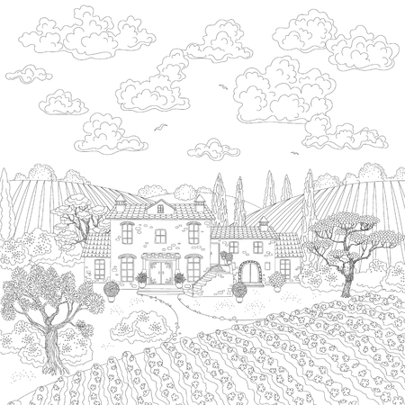 manor: Contoured summer landscape with house, vineyard, trees and clouds. Manor with stone old house. Hand drawn cartoon illustration. Monochrome doodle illustration. Black and white elements for coloring.