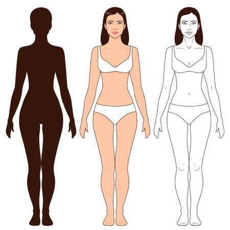 Kobieta kształt ciała, zarys i sylwetka szablon. Pełny widok długość czoła dziewczyny stojącej na białym.