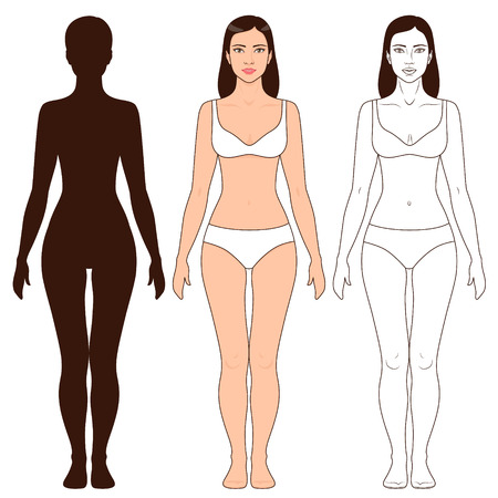 Woman body shape, outline and silhouette template. Full length front view of a standing girl isolated on white. Иллюстрация