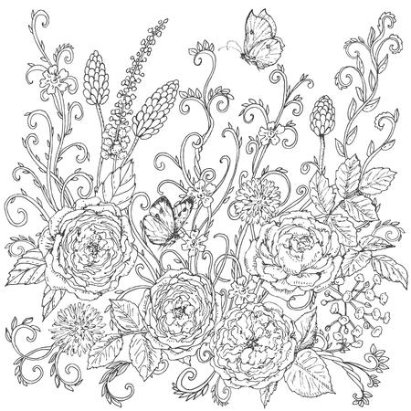Dibujado A Mano Patrón De Líneas Floral Con Rosa De Té. Flores De ...