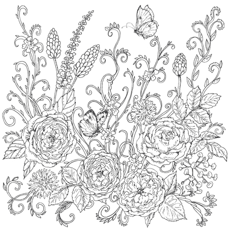 Hand drawn floral  pattern with tea rose. Black and white flowers, leaves,  curls  and flying butterflies for coloring. Vector sketch.