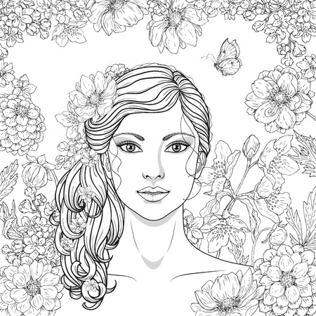 long curly hair: Hand drawn girl with flowers and butterfly. Doodle floral frame. Black and white illustration for coloring. Monochrome image of woman with long curly hair. Vector sketch.