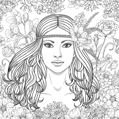 black and white image: Hand drawn girl with flowers. Doodle floral frame. Black and white illustration for coloring. Monochrome image of woman with long curly hair. Vector sketch.