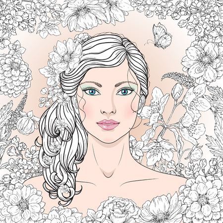 long curly hair: Hand drawn blue-eyed girl with flowers and butterfly. Black and white doodle floral frame for coloring. Monochrome image of woman with long curly hair. Vector sketch. Illustration