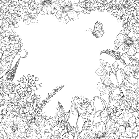 hand butterfly: Hand drawn square floral frame  with flowers  and butterfly. Black and white doodle flowers for coloring. Floral elements for decoration. Vector sketch. Space for text.