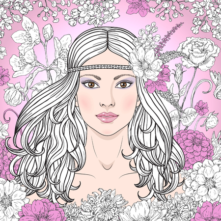long curly hair: Hand drawn beautiful girl with flowers on pink background. Doodle floral frame. Black, pink and white color illustration. Monochrome image of woman with long curly hair. Vector sketch.