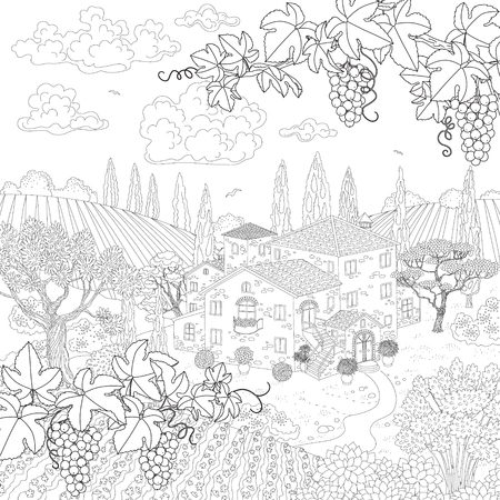 black grape: Contoured summer landscape with house, vineyard, trees, grape branches. Hand drawn cartoon monochrome illustration. Black and white elements for coloring.