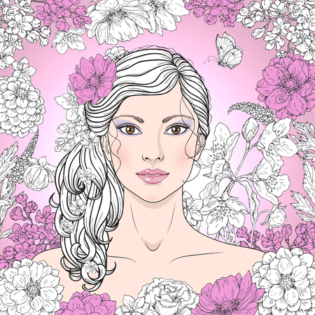 beautiful face: Hand drawn beautiful girl with flowers on pink background. Vintage floral frame. Black, pink and white color illustration. Monochrome image of woman with curly hair. Vector sketch. Illustration
