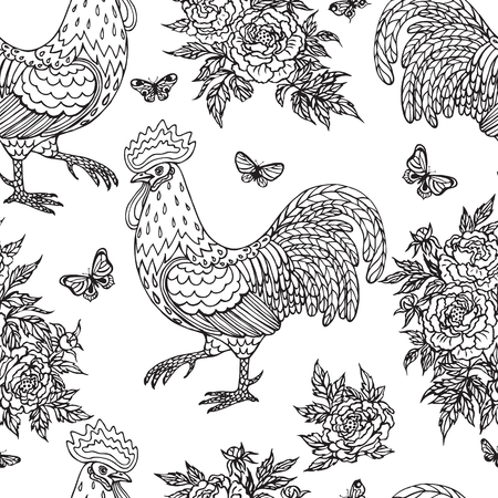 childlike: Hand drawn contoured rooster, flying butterflies and peony flowers on white background. Monochrome childlike illustration. Black and white color seamless pattern. Illustration