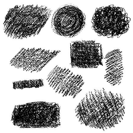 黒チョーク テクスチャのセットです。手は、白い背景の上の炭スポットを描画されます。