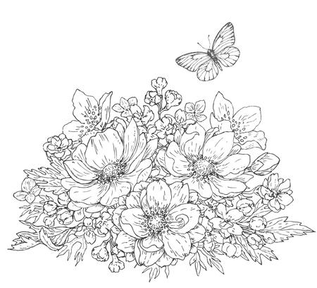 Dibujado a mano ilustración de línea de las flores del racimo y la mariposa volando. ramo del Doodle blanco y negro con las anémonas. Monocromo elementos florales para colorear. dibujo vectorial.