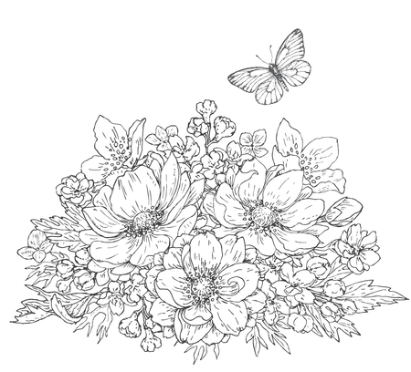 Hand drawn line illustration of flowers bunch and flying butterfly. Black and white doodle  bouquet with anemones. Monochrome floral elements for coloring. Vector sketch. Ilustração