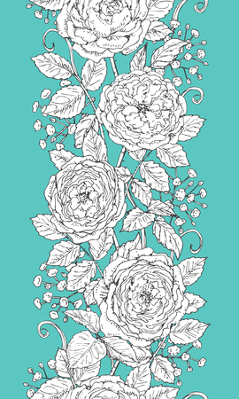 tea rose: Hand drawn floral  line pattern with tea rose  and gypsophila. Black and white doodle flowers on turquoise background. Seamless texture. Vector sketch.