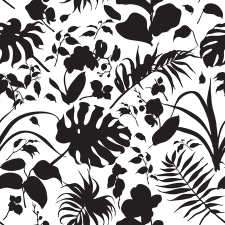 Hand drawn branches and leaves of tropical plants. Silhouette tropical plants seamless background. Black and white texture.