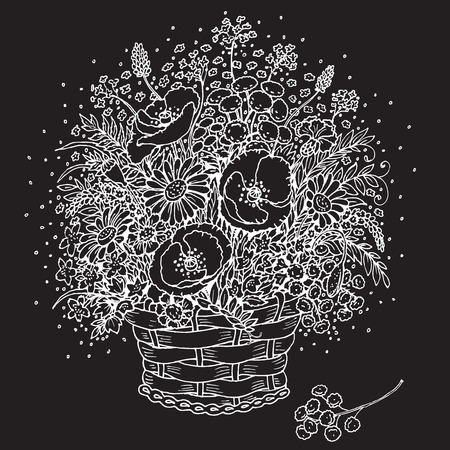 fragrant bouquet: Hand drawn white image of  bouquet of wild flowers in a basket on black background.