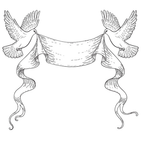 contoured: Hand drawn pair of flying doves with banner ribbon. Black and white contoured image. Space for text. Two pigeons vector sketch. Holiday decoration element. Illustration