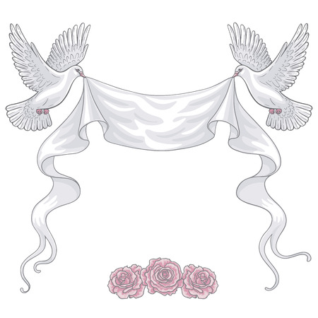 Hand drawn pair of white flying doves with banner ribbon and pink roses. Contoured image. Space for text. Two pigeons vector sketch. Holiday decoration element. Vetores