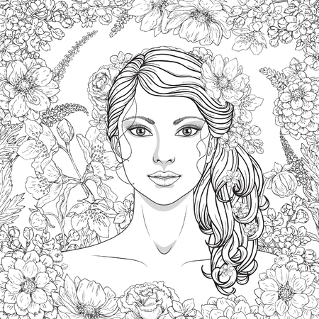 Hand drawn girl with flowers. Doodle floral frame. Black and white illustration for coloring. Monochrome image of woman with long curly hair. Illustration