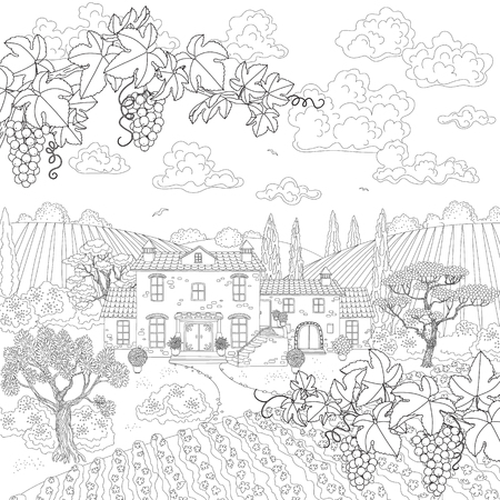 white grape: Contoured summer landscape with house, vineyard, trees, grape branches. Hand drawn cartoon monochrome illustration. Black and white elements for coloring.