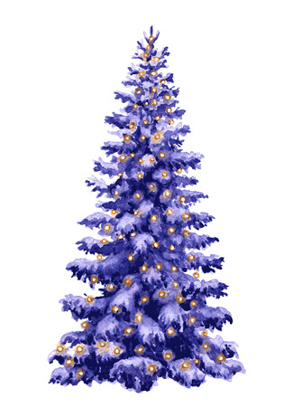 lighted: Hand drawn watercolor Christmas tree with lighted garland isolated on white. Snow Fir tree decorated with lights. Winter holiday symbol. Spruce view at dusk. Element New Year decoration.