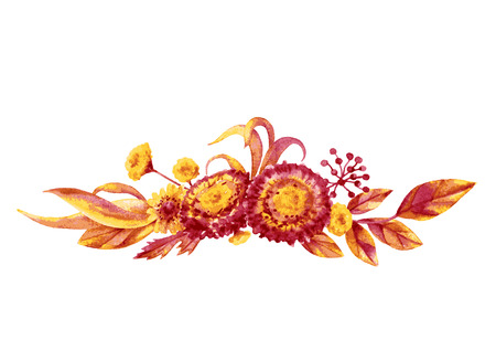 fall leaves on white: Hand drawn watercolor autumn flowers and leaves bouquet. Yellow and red floral elements isolated on white. Fall Foliage bunch sketch.