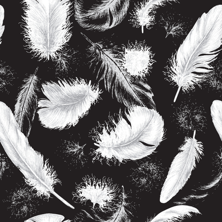 Hand drawn set of various feathers. Seamless background with flying white plumes on black