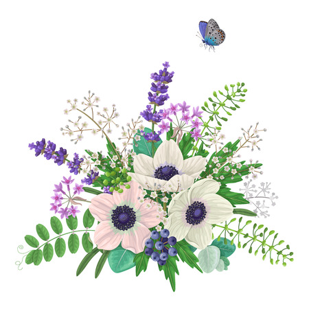 Bunch of flowers and flying butterfly isolated on white. Cream  color anemone with floral elements and berries. Anemones romantic bouquet. Illustration