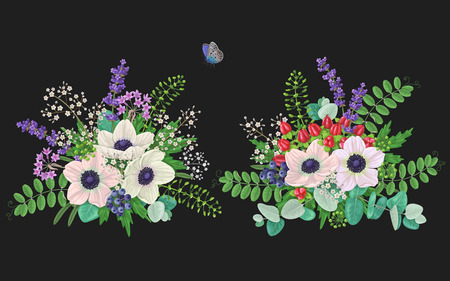 Bunches of flowers and flying butterfly isolated on black. Cream color anemone with floral elements and red berries. Romantic bouquets.