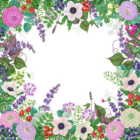 petites fleurs: floral frame carré avec renoncule coloré, crème anémone, baies, petites fleurs et éléments floraux. Illustration