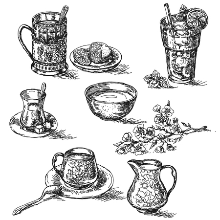 ice tea: Hand drawn various teas set. Sketch of tea with lemon, sugar and milk. Glass of cold drinking with ice. Illustration