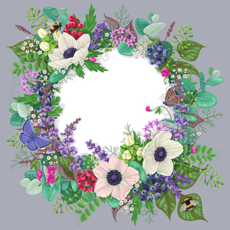 Round Frame With Anemone Flowers Berries Flying And Sitting Butterflies Bumblebees Romantic