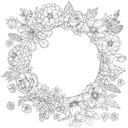 Marco redondeado floral del doodle dibujado mano. Flores y hojas blancos y negros. Tarjeta romántica monocromática con espacio para texto. Vector de boceto.