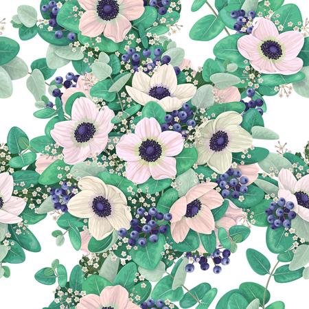 eucalyptus: Seamless pattern made with anemone flowers, blue berries, eucalyptus branch and gypsophila.