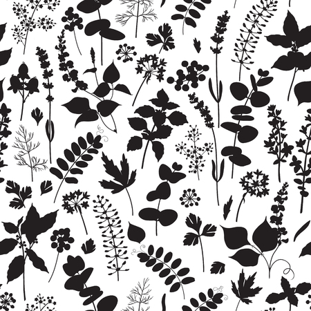 campo de flores: Modelo inconsútil blanco y negro hecho con los elementos florales silueta.