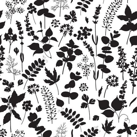 champ de fleurs: seamless noir et blanc fait avec des éléments floraux silhouette. Illustration