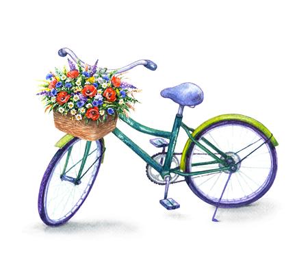 Hand getekende illustratie van de fiets met mand geïsoleerd op een witte achtergrond. Waterverfschets van groene fiets en wilde bloemen.
