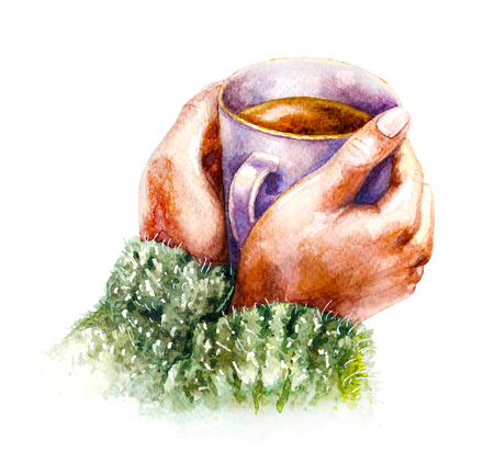 warm clothes: Hand drawn watercolor illustration. Hygge theme. Elements of home comfort.  Coffee cup in female hands isolated on white background. Aquarelle sketch. Stock Photo